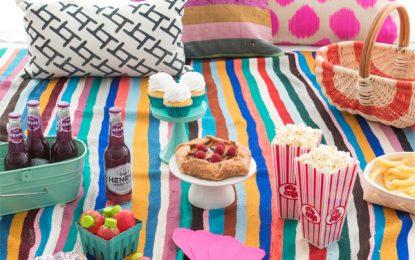 Colorida fiesta de picnic en casa